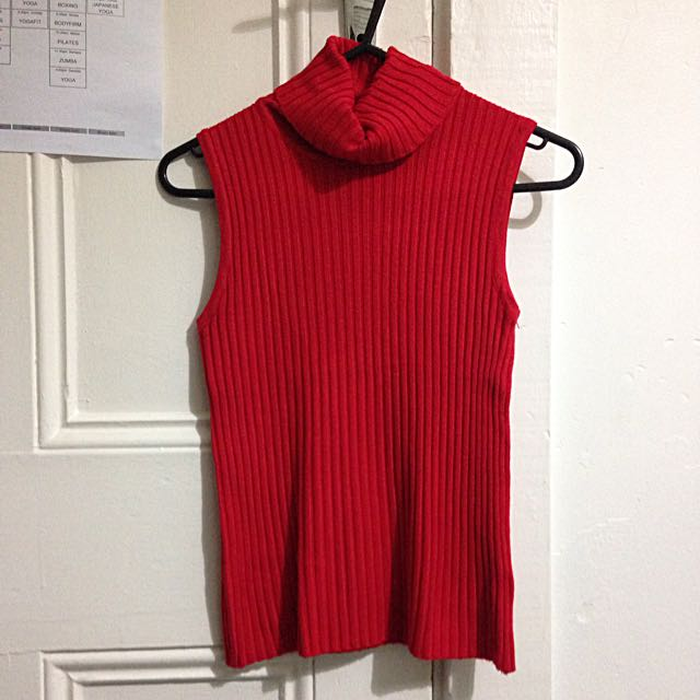 New* Red Sleeveless Turtleneck