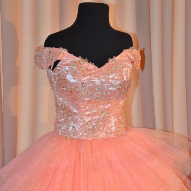 Peach Off Shoulder Ball Gown