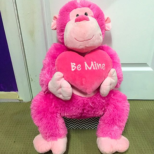 "Pink Monkey ""Be Mine"" Plush Toy"