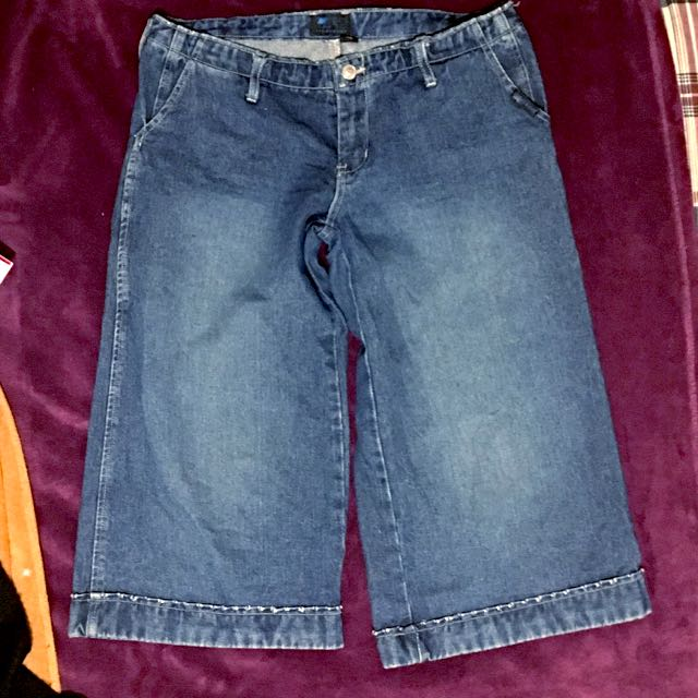 *Size 12* Distressed Knee Length Flared Denim Shorts