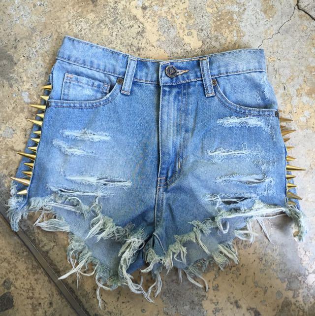 [SALE] UNIF Stud Denim Shorts