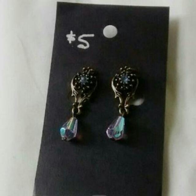 Vintage Dangly Clip On Earrings
