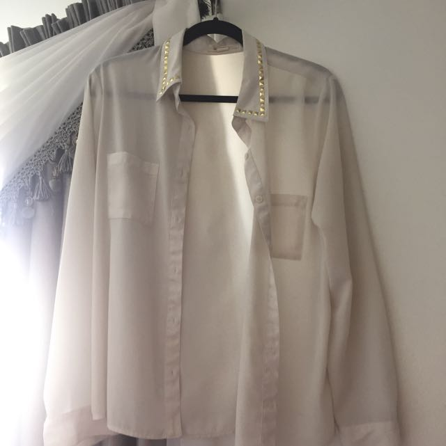 White Chiffon Button Up Shirt With A Studded Color