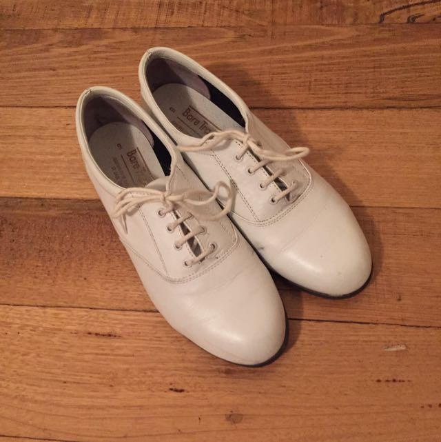 White Leather Lace Up Shoes