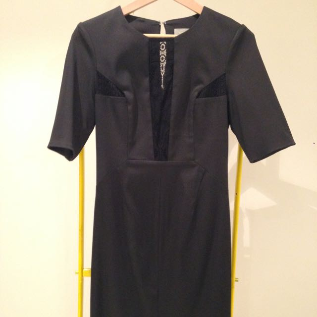 White Suede Black Dress