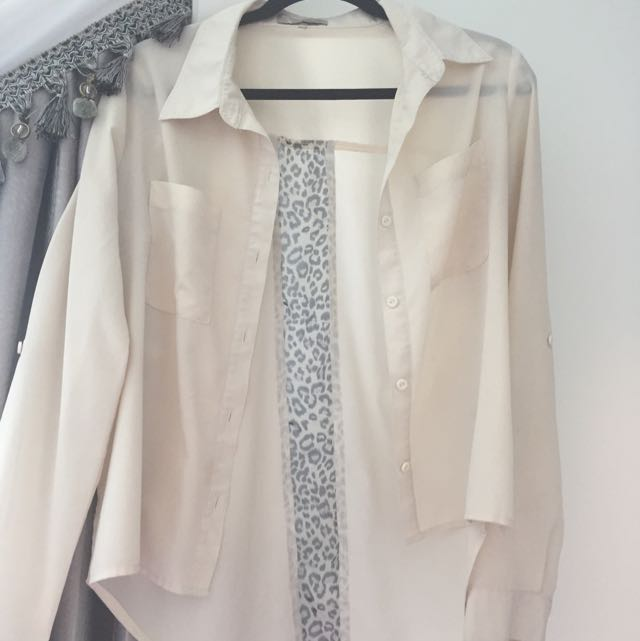 White(beige) Chiffon Button Up Shirt