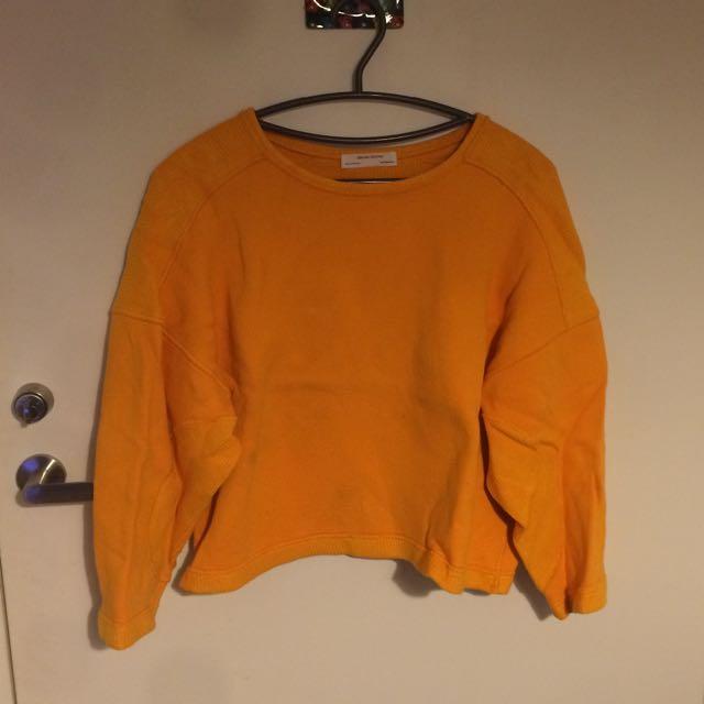 Zara亮橘色厚棉上衣