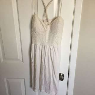 White Summer Dress, Lace Top