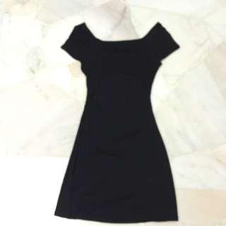 Off Shoulder Black Dress With Open Cutout Design At Back