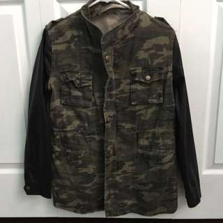 Camouflage Jacket With Faux Leather Sleeves