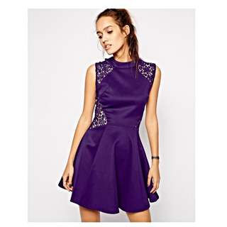 Club L Skater Dress with Lace Panel Detail