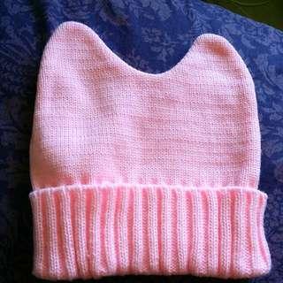 Pink Bunny Ears Beanie