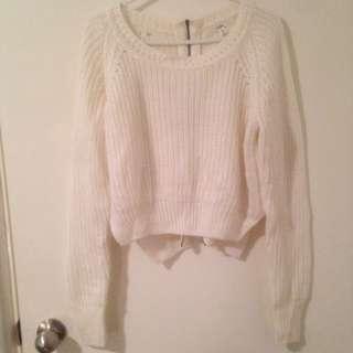 White Knit Crop Jumper