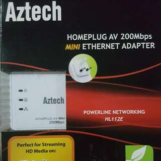 (RESERVED) Aztech HOME PLUG AV 200MBPS Mini Ethernet Adapter (REDUCED PRICE) FIX. $12