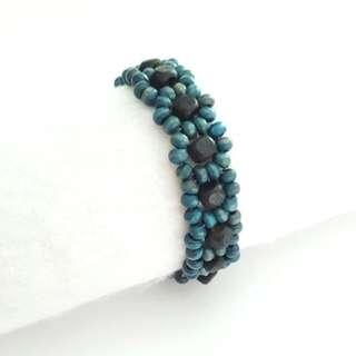 Handmade Vintage Daisy Beaded Turqiose Bracelet