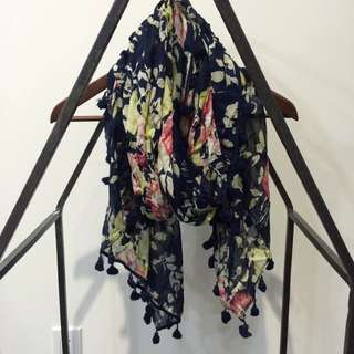 American Eagle Floral Scarf With Tassles
