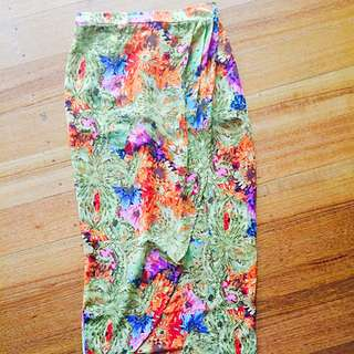 Maxi Floral Skirt With Slit