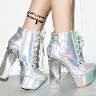 Silver Hologram Boots
