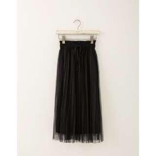 全新)LOVFEE氣質夢幻雙層網紗鬆緊紗裙