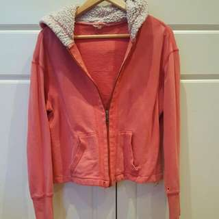 Pink Jacket With Wooly Hood