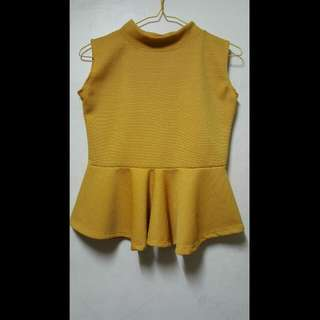 Mustard Sleeveless Peplum Top