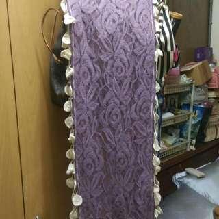 紫色通花長版圍巾