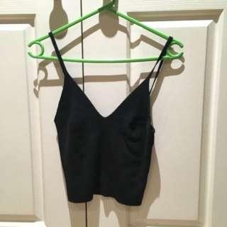 Black Knit crop top
