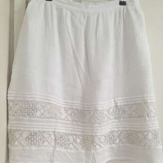 White Midi Skirt With Crochet Lace Insert