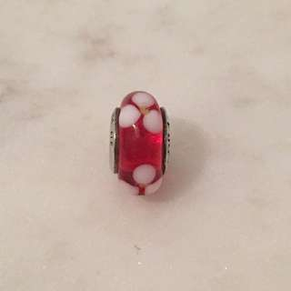 Pandora Silver And Red Flower Glass Bead