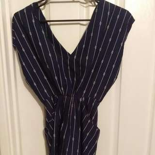 Tokito Pocketed Tapered Blouse In Navy Size 8