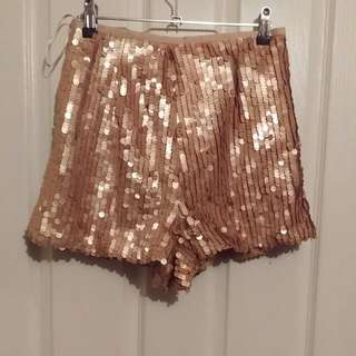 Pearl Pink Sequin Shorts, Size S