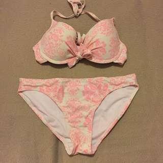 White and Pink printed bikini set