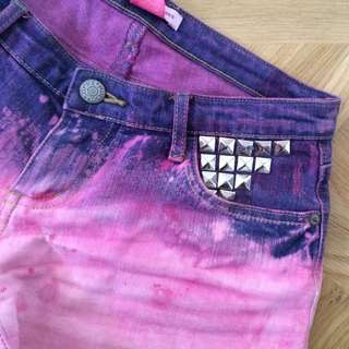Hand dyed denim shorts