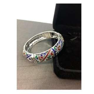 925純銀+景泰藍 復古風格手環