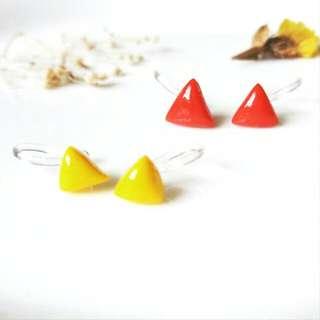 純手工立體三角形矽膠夾式/防敏鋼針耳環