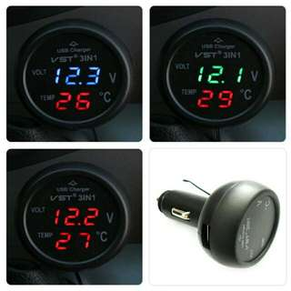 Car USB Charger With VOLTMETER AND temperature Gauge(plug To Ciggarette INPUT)