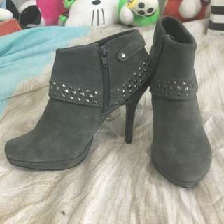 Grey Suede Boot Heels - Size 37