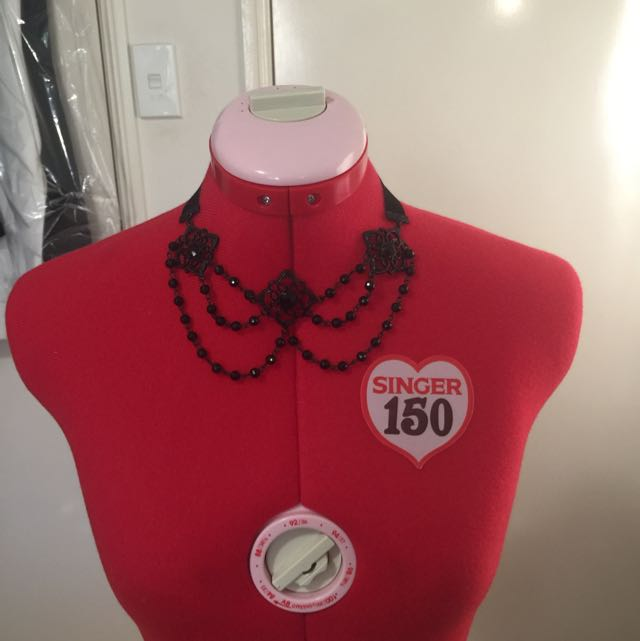 Black Beaded Collar Shaped Necklace