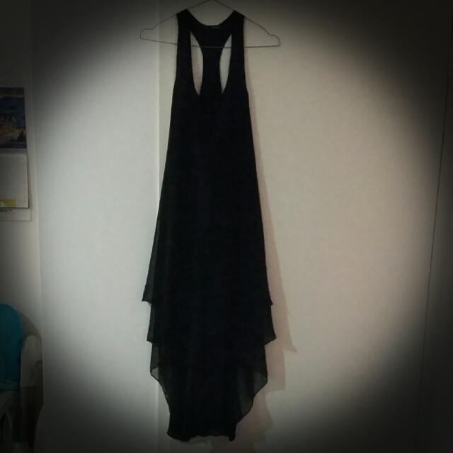 Black Evening Cross Back Dress. Size 8.
