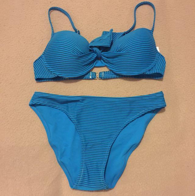 Blue and Black Striped bikini set