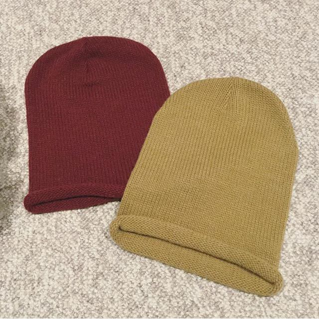 Camel And Maroon Beanies