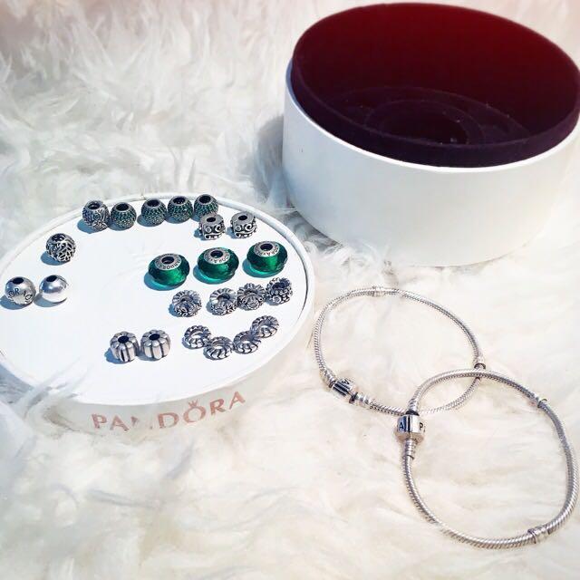 GENUINE 2x Pandora Bracelets + 23 Charms (AUTHENTIC)