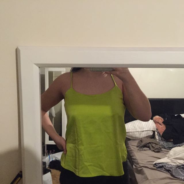 Green Silk Singlet Top With Back Cutouts