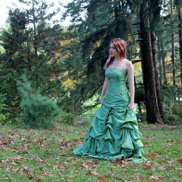 Green/gold Princess Styled Ballgown/prom Dress