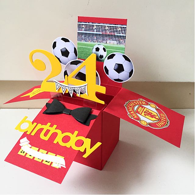 Happy 24 Birthday Pop Up Card In Manchester United Theme Design