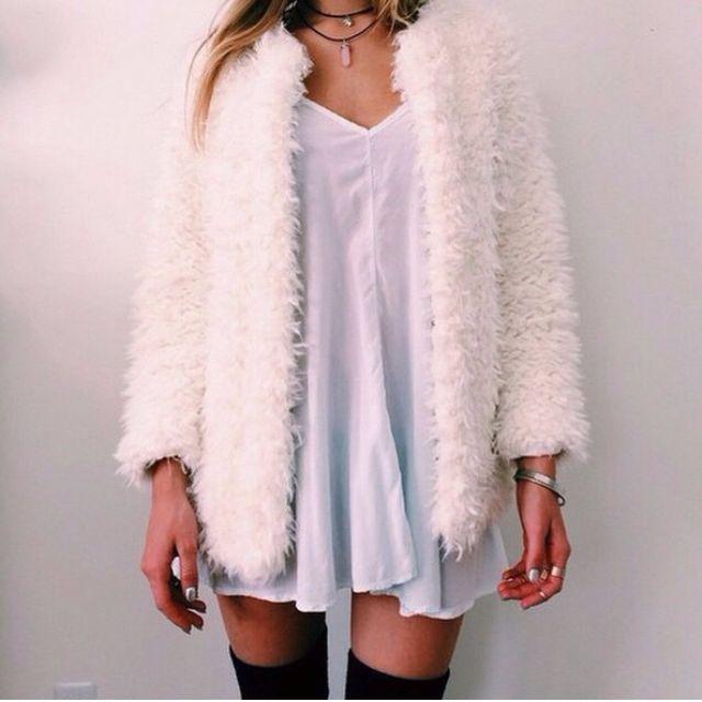 H&M White Fluffy Cardigan size Sml