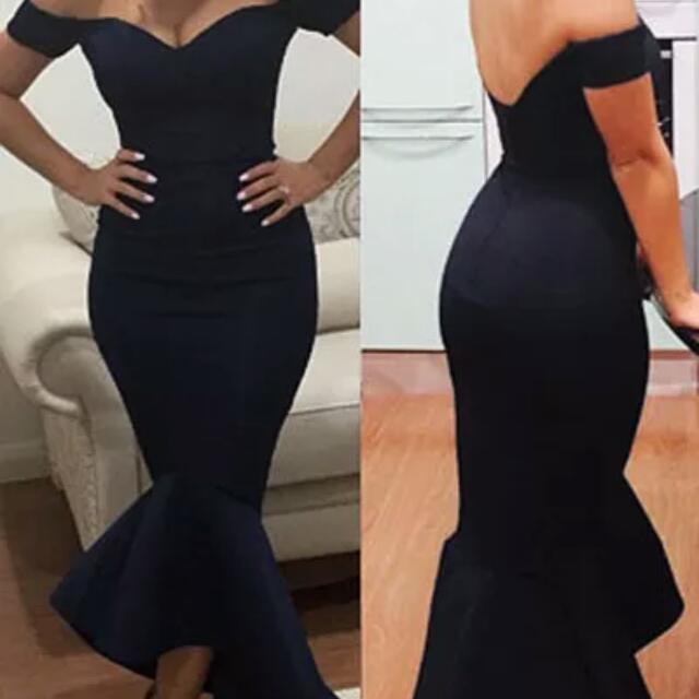 Indigo Size 12 Off Shoulder Mermaid Dress