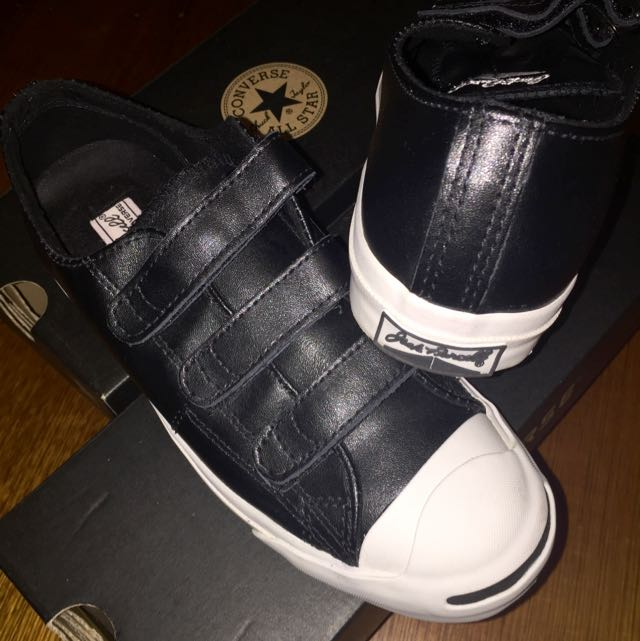 Jack Purcell Converse leather shoes in black velcro #EOFYSALE