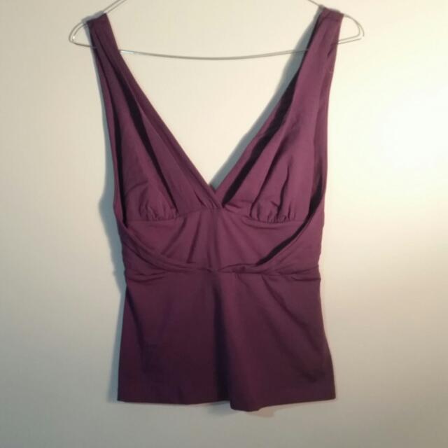 Kookai - Purple Open Back V Top