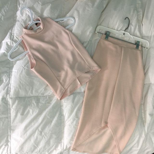 Misguided 2 Piece Skirt/crop Top Set